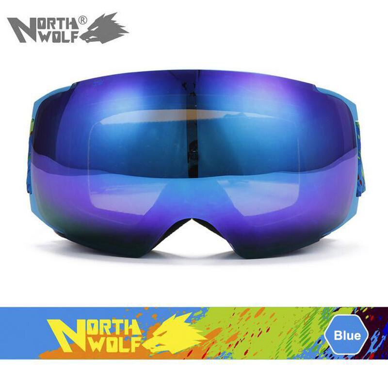 Lunettes de ski de marque North Wolf double couche UV400 anti-buée grand masque de ski lunettes de ski hommes femmes neige snowboard lunettes livraison directe