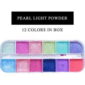 Image 2 - Polvo de uñas cromo de 12 rejillas para inmersión, Polvo de pigmento de colores, purpurina de perlas para decoración de uñas, LAZGF 1