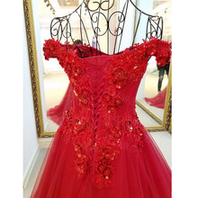 Long Crystal Royal Red Evening Dress Beads Crystals Sequins Tulle Prom Dress Party Gown For Women vestido de festa Real Photo