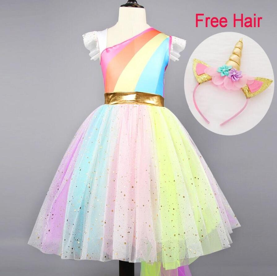 2019 Unicorn Costume Princess Dress Girls Birthday Party Dress Children Kids Flower Girls Unicorn Dress Halloween Costume