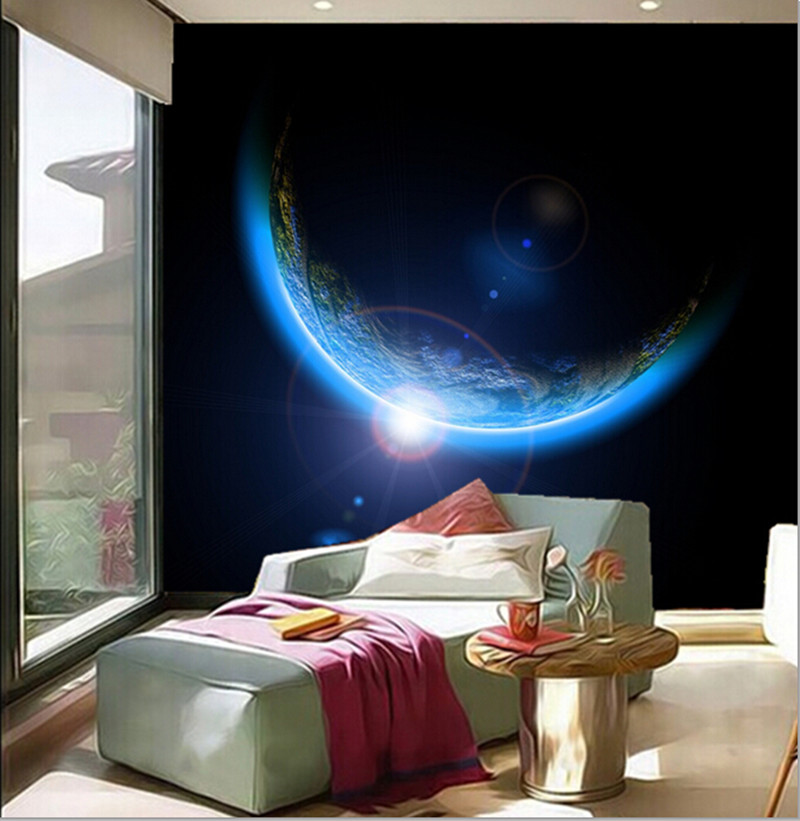 Custom 3d large mural planets earth space 3d papel de for Earthrise mural