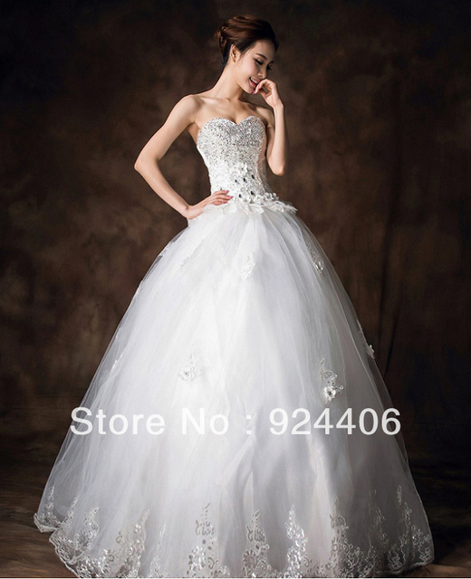 Free shipping,Modern,Customize,Wedding dress,Wedding gown.Ball Gown,Sweetheart,Anke length,Rhinestone,Sequin,Flower,Net/Tulle