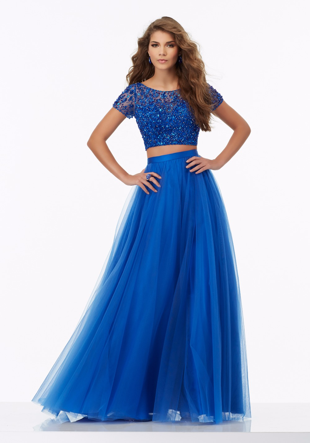 Royal Blue Cap Sleeves 2 Pieces Prom Dresses Long 2017 A