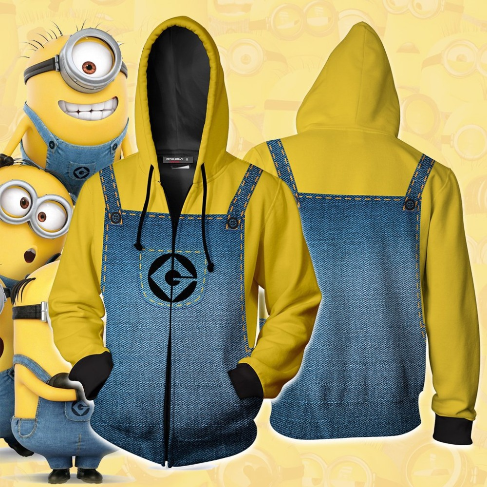 Minion Cosplay Costumes 2019 Minion Hoodies 3D Printed Sweatshirt Sweater Game Anime Cartoon zipper hooded sweater Jackets