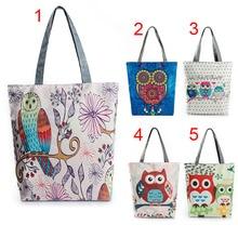 Fashion Hot Sale Shoulder Bag Women Floral Owl Printed Crossbody Bags Canvas Tote Beach Bag Large Capacity Single Handbag Bolsas