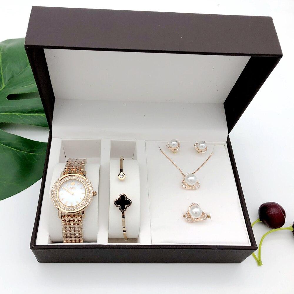 女性のクォーツ時計セット高級 5 個ブレスレットネックレスリングイヤリング女性誕生日プレゼントのファッションバレンタインデーのギフトとボックス  グループ上の 腕時計 からの レディース腕時計 の中 2
