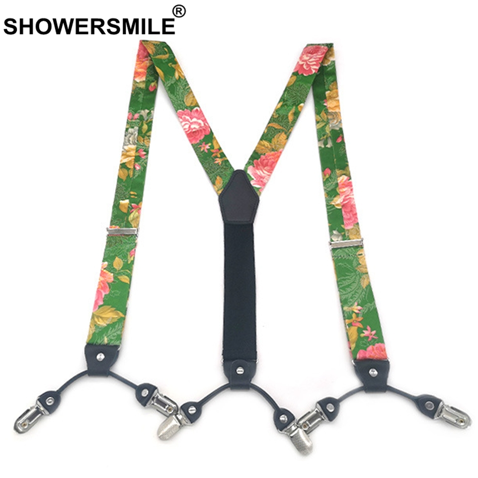 SHOWERSMILE Silk Suspenders Men Floral Suspender Belt Women Green Luxury Designer Brand Medieval Men Braces 6 Clip 115cm Unisex