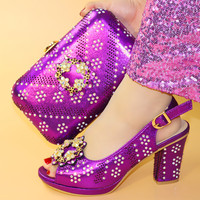 Purple Italian Shoes with Matching Bag for Woman Italian Shoes and Bag Set High Quality African Wedding Shoe and Bag
