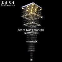 Хрустальная люстра лампа Светодиодная Современная квадратная Крытая подсветка с датчиком движения декоративная L80 * W80 * H300CM