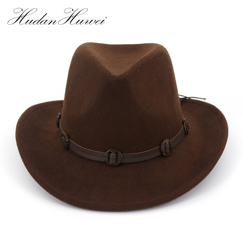 European US Wide Brim Woolen Felt Jazz Panama Hat Western Cowboy Cowgirl Hats With Leather Decorated Trilby Fedora For Men Women