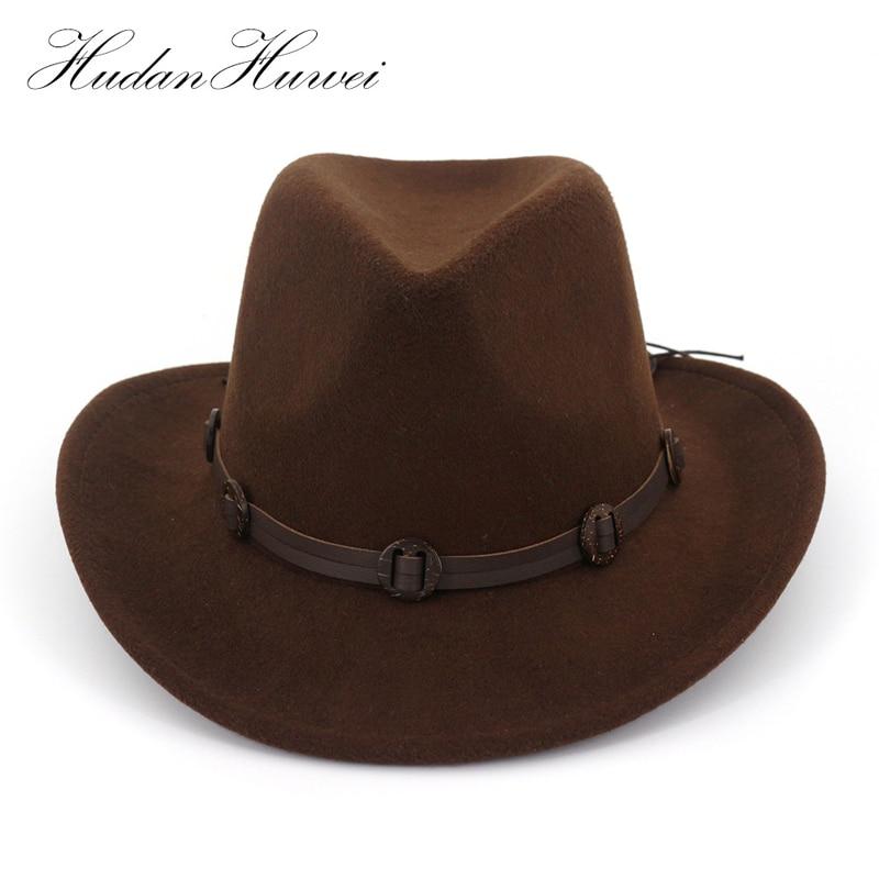 887a10343db13 Europeu EUA Aba Larga chapéu De Feltro de Lã Jazz Chapéu Panamá Cowboy  Cowgirl Ocidental Decorado Fedora Trilby Chapéus com pulseira de Couro para  Homens ...