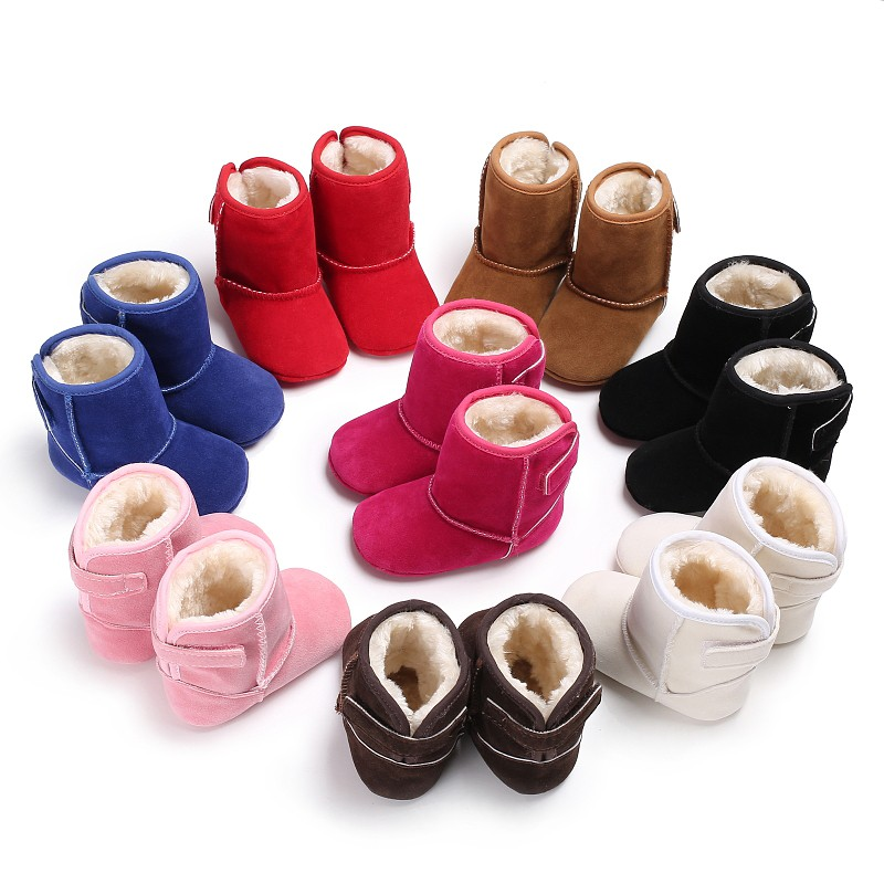 Autumn Winter Super Warm Boots Classic Solid Baby Boys Girls Shoes Toddler First Walkers Multi-Colors