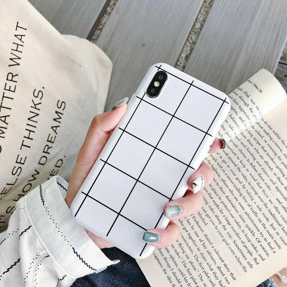 Proste moda czarny biały siatka telefon etui na iPhone'a X XS Max XR 8 7 6 6s Plus etui krata Stripe, miękkie silikonowe tylna pokrywa