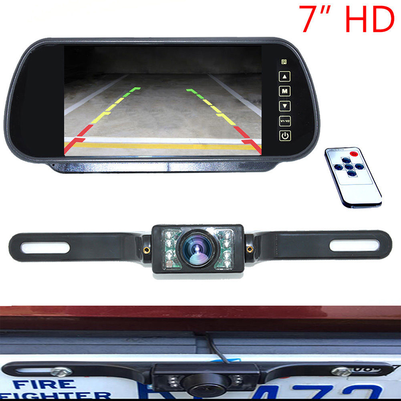 Auto Parking Assistance 7 Inch TFT LCD Car Rearview Mirror Monitor with 7 IR Night Vision Car Backup Reverse Rear View Camera