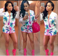 Rompers Womens SHORT Jumpsuits 2015 Sexy Clubwear Bodycon Sexy  Print Macacao Feminino  Playsuit 2PIECES  ZIP FRONT Bodysuit
