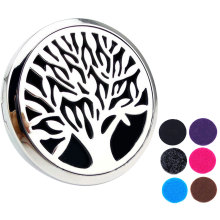 BU-Bauty 30mm Tree of Life Magnet Diffuser Stainless Steel Car Aroma Locket Free Pads Essential Oil Lockets 6