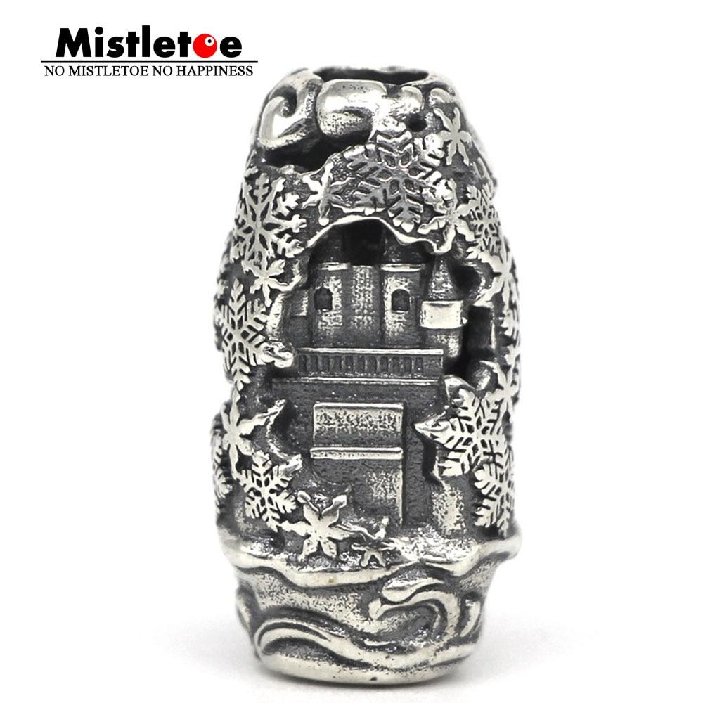 Mistletoe 925 Sterling Silver Earth Element Winter castle Pendant Charm Bead European Jewelry