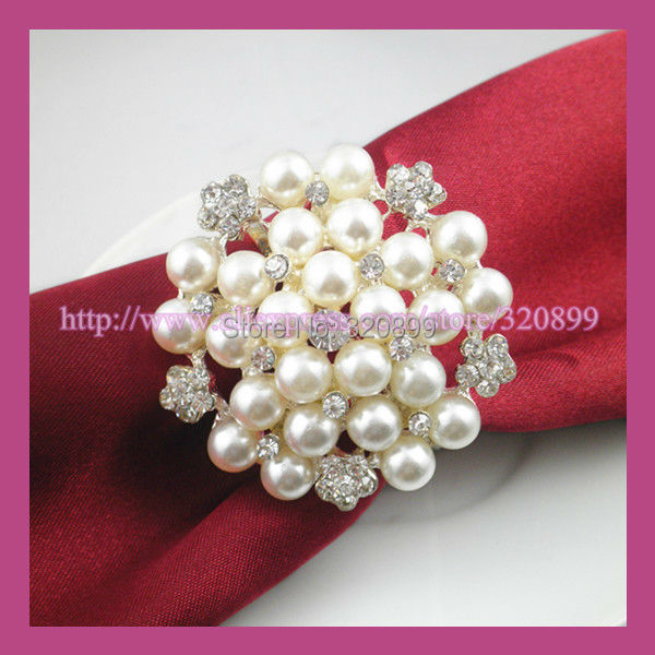 12pcs Lot Round Pearl Cluster Napkin Ring For Wedding Table DecorationSilver Plate In Event