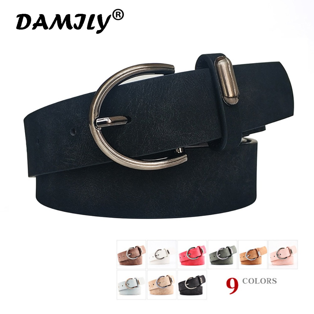 Circle Pin Buckles Suede PU Leather   Belt   Female Silver Buckle Jeans Wild   Belts   For Women Fashion Students Simple Casual Trousers