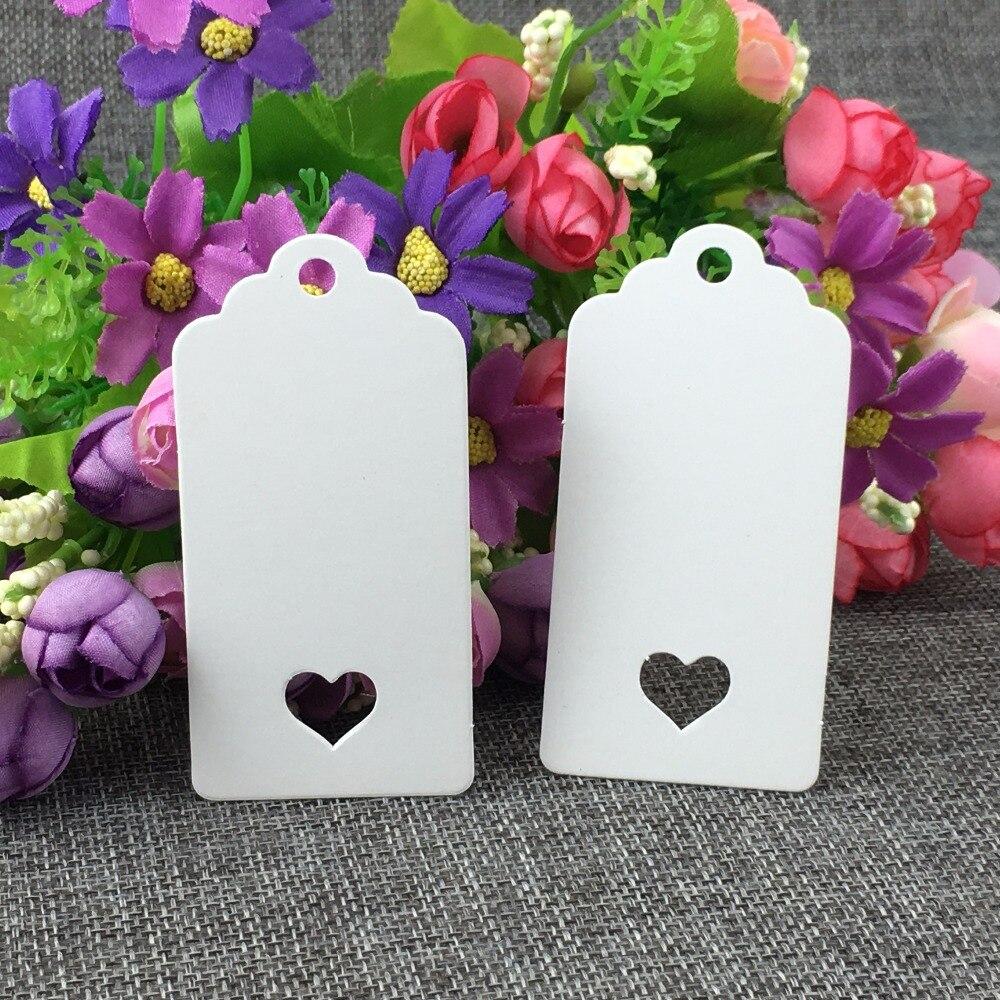 Белый Бумага 200 шт./лот 8*4 см Retangle Scalloped ценники с сердцем отверстие пустой го ...