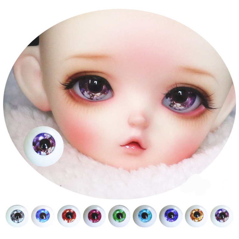 Snowflake Black Pupil Acrylic BJD Doll Eyes For 1/3 1/4 1/6 Doll Accessories Gorgeous Cool 12mm 14mm 16mm 18mm Eye Ball