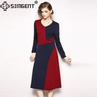 Simgent 2018 Dresses Women Winter Long Sleeve V Neck Vintage Elegant A Line Midi Patchwork Dress Woman Clothing Vestido SG810171