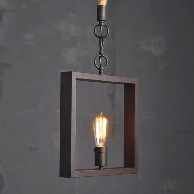 Vintage american style e27 home wire base edison bulb square hanging vintage american style e27 home wire base edison bulb square hanging ceiling lamp light pendant lighting greentooth Images