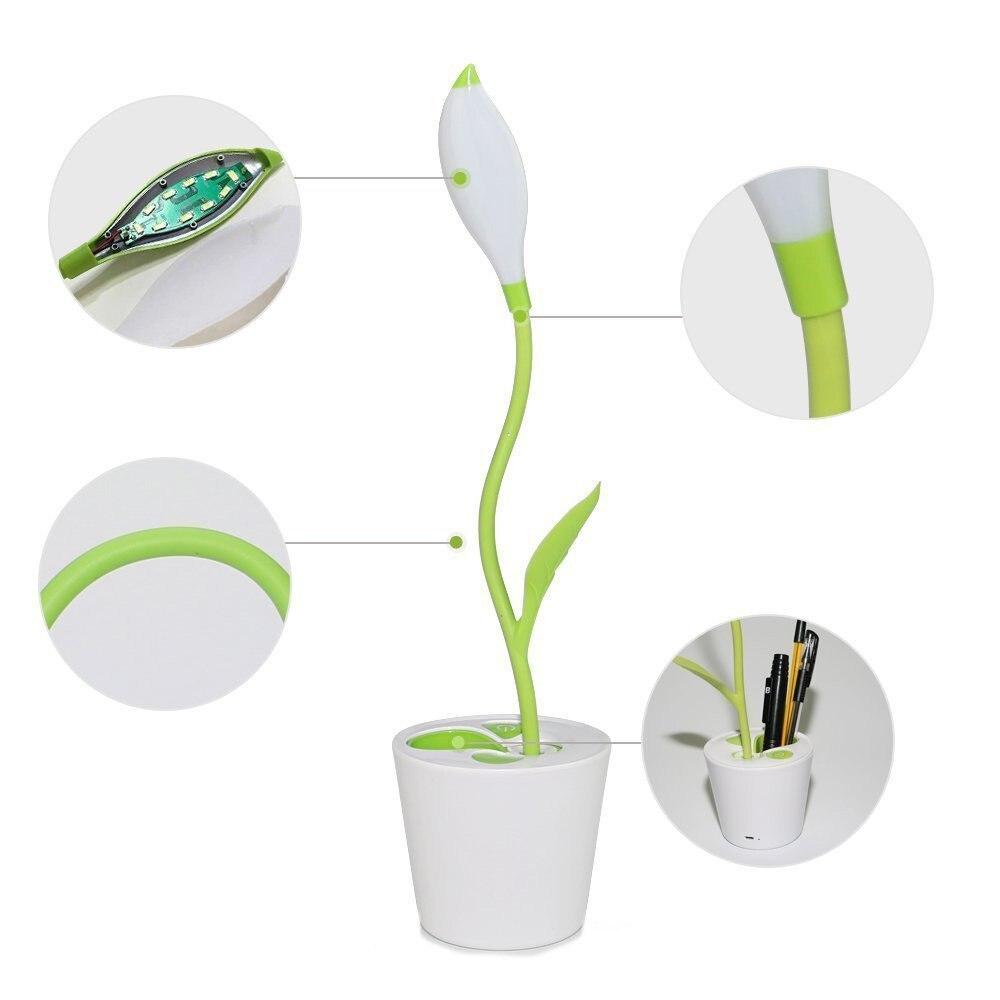Творческий USB светодиодный настольная лампа, деревце карандаш контейнер Дизайн, сенсорный переключатель, гибкие Gooseneck, 3 Яркость уровни