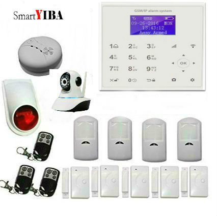 SmartYIBA IOS Android APP Wifi Wireless Security Alarm System HD Network Camera Smoke Detector Alarm GPRS SMS Alarm Kits 2018 wifi alarm gsm gprs sms wireless home security intruder alarm system with hd wifi ip camera smoke detector
