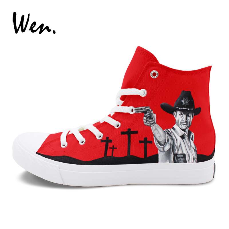 цена на Wen Hand Painted Shoes Red Canvas Sneakers The Walking Dead Graffiti Painting Unisex Skateboarding Shoes Big Size 46-49 Trainer