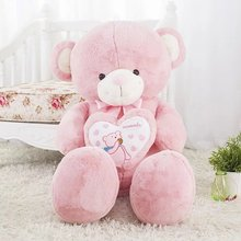 new plush pink teddy bear toy high quality bow bear doll hold a heart about 80cm