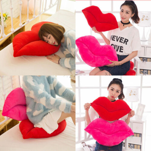 Casual Cushion New Casual Solid Color Cotton Sexy Pink And Red Lip Shaped Plush Pillow  Love Decorations Cushion