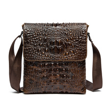2016 autumn and winter men crossbody bag/alligator pattern PU leather single shoulder bag/men's business vertical messenger pack
