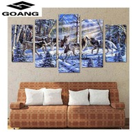 5pcs Diy 5d Diamond Painting Picture Of Rhinestones Canvas Paint Diamond Mosaic Embroidery Animals Snow Wolf