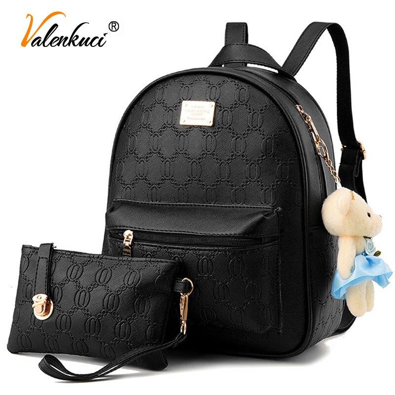 Valenkuci women leather backpacks for teenage girls travel women bags famous designer brand backpacks student school