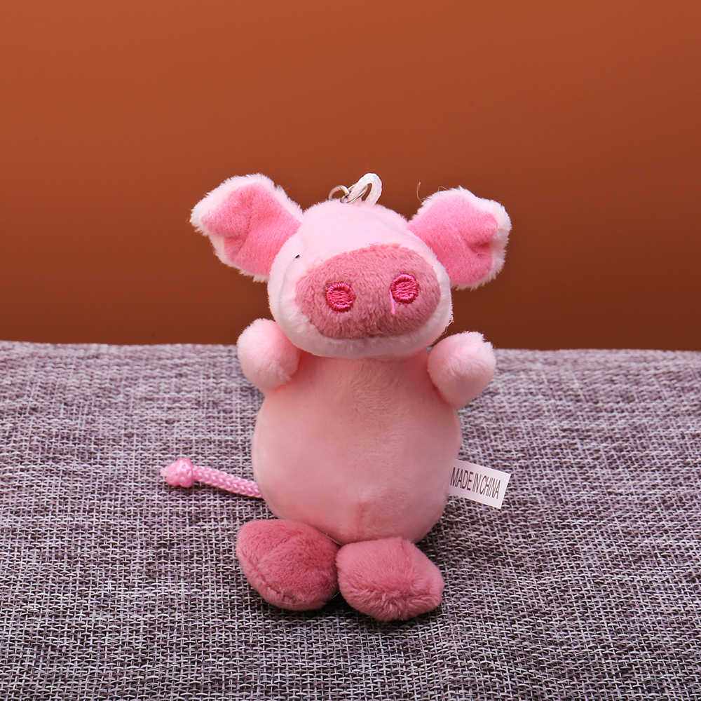 Bonito dos desenhos animados bola de pelúcia chaveiro rosa animal porco saco pingente chaveiro titular meninos chimmy bolsa charme para meninos meninas