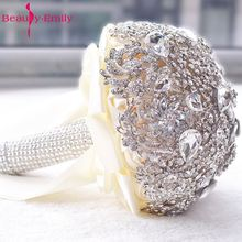 2017 кристалл букет невесты свадебный цветок аксессуар рука холдинг Свадебный букет Ramo De Flores Novia Высокое качество брошь
