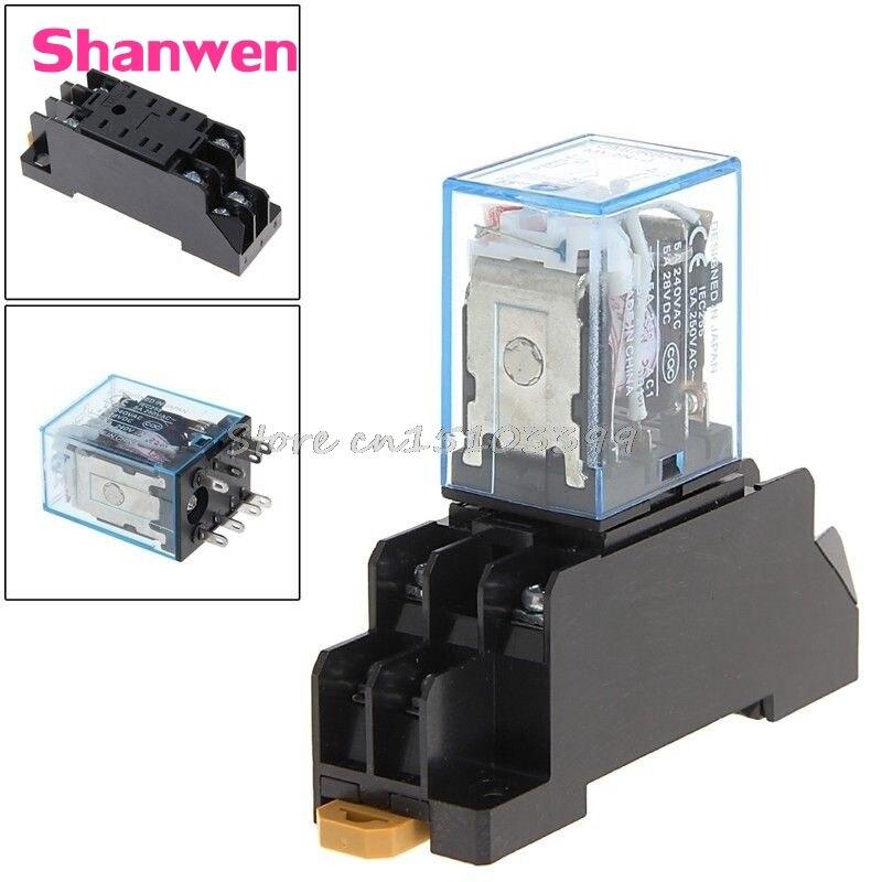 Drop shipping PYF08A 220/240 V AC Bobina Power Relay DPDT MY2NJ 8 Pin With Base #G205M# Best Quality пилка scholl роликовая электрическая для ногтей