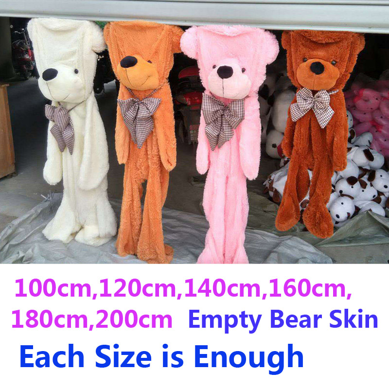 100-200cm Large Bear Big Size Unfilled Empty Unstuffed Plush Skin Teddy Bears Case Giant Doll Stuffed Skins Toy Children Gift