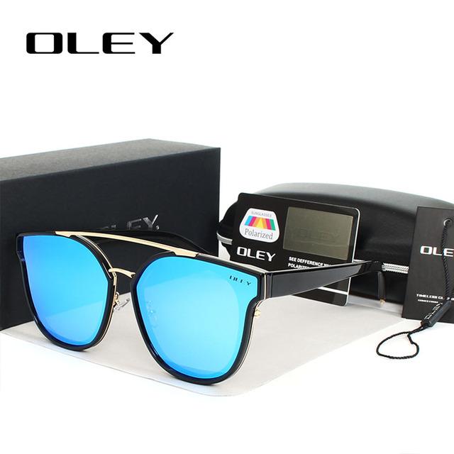 OLEY Luxury Polarized Oversized Sunglasses Women 2017 Brand Designer Mirror Cat Eye Sun Glasses Flat Panel Lens Rays Style UV400