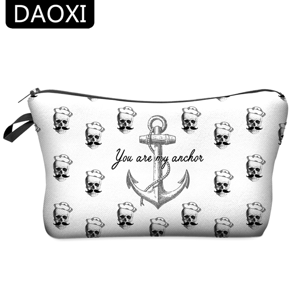 DAOXI Anchor Cosmetic Bag 3D Printing Zipper Organizer for Travelling Necessary Women Toiletry Gift