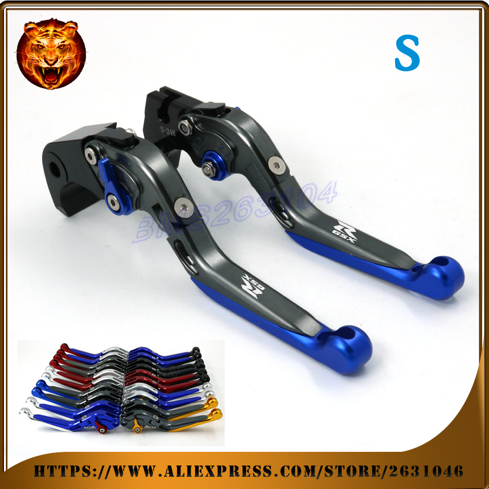 Adjustable Folding Extendable Brake Clutch Lever For SUZUKI GSXR600 GSXR750 GSXR 2004 2005 Blue CNC Free shipping Motorcycle