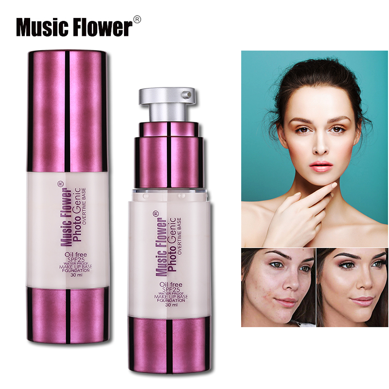 Music Flower Face Liquid Foundation Makeup Oil-free Waterproof Creamy Foundation Full Cover Concealer Make Up Base Primer SPF25 miss rose 7ml mini concealer foundation base makeup repair nourish oil control liquid foundation nude make up bases maquiagem