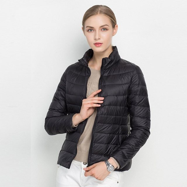 FTLZZ New Women 90% Ultra Light White Duck Down Short Jacket Spring Winter Jackets Puffer Jacket Portable Windproof Down Coat 3