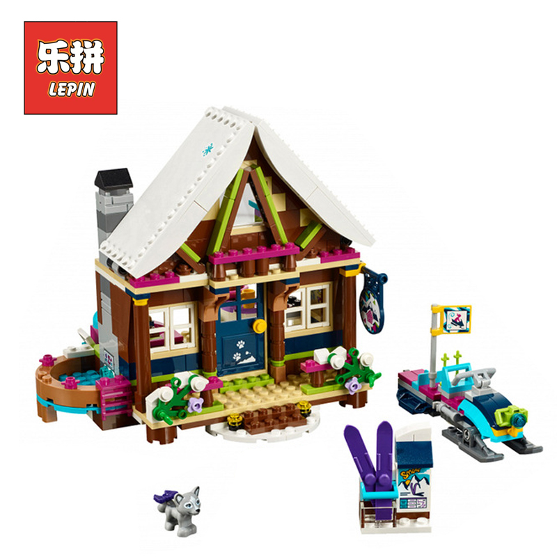 LEPIN 01040 Girl Series Snow Ski Resort Chalet DIY Set Model Building Kits Blocks Bricks Friends Educational Children Toys Gift lepin 01040 friends girl series 514pcs building blocks toys snow resort chalet kids bricks toy girl gifts lepin bricks 41323