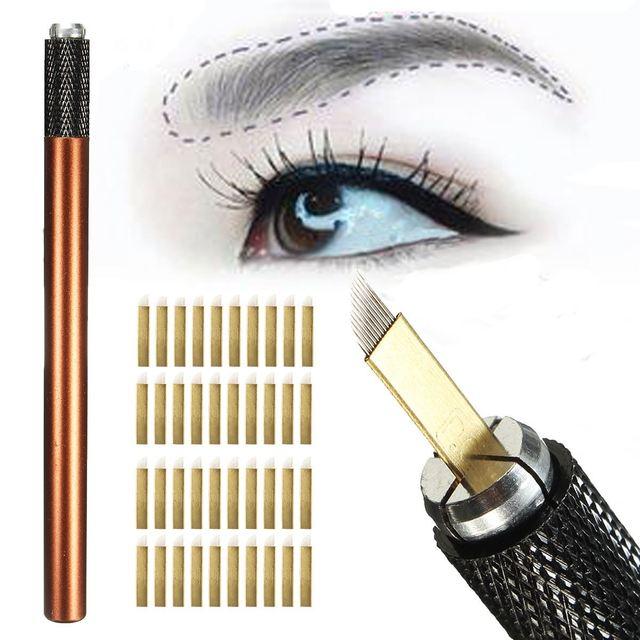 Professional Manual Permanent Eyebrow Makeup Tattoo Pen Microblading With 50PCS PCD 12pin Needles Blades Tebori Guns Kits