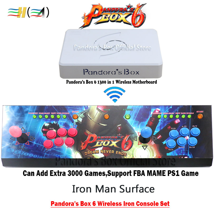 Pandora Box 6 1300 in 1 wireless version iron console set arcade games joystick 2 players support 3d tekken can add 3000 gamesPandora Box 6 1300 in 1 wireless version iron console set arcade games joystick 2 players support 3d tekken can add 3000 games