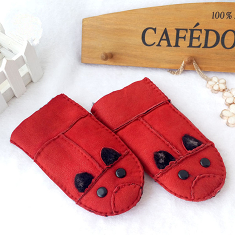 Children Fashion Fur Hand Winter Warmer Genuine Leather Mitten Patchwork Fur Gloves Girl's Cartoon Gloves