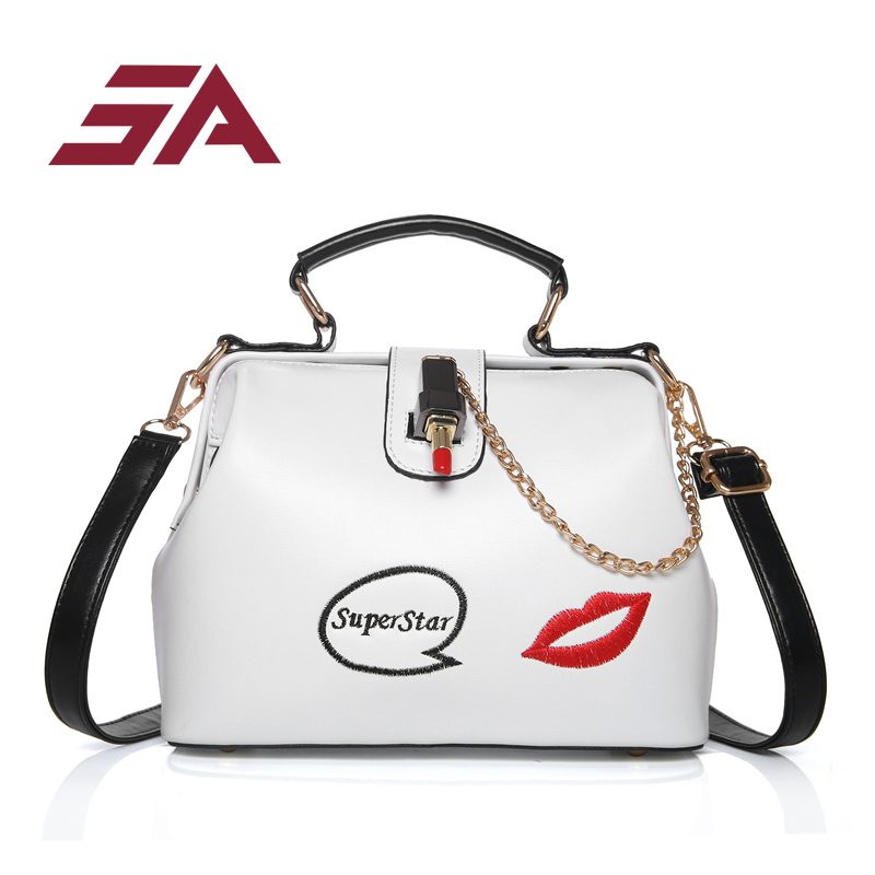 SA 2018 spring summer new doctor bag for women kiss Printing sweety lady mini top-handle fashion crossbody shoulder female bag doctor bag