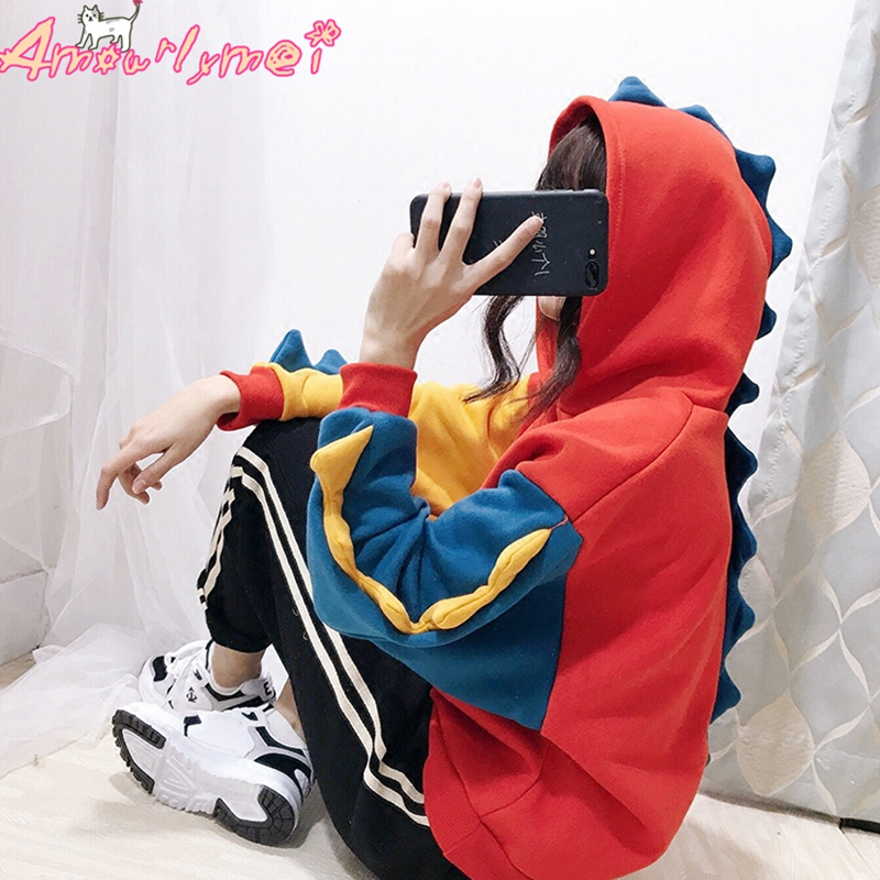 Autumn Winter Harajuku Lolita Kawaii Women's Sweatshirts Hoodies Japanese Mori Girl Cartoon Dinosaur Plus Velvet Hoodies Female